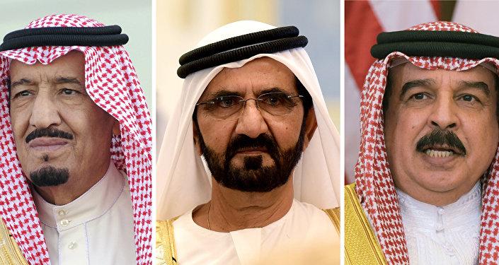أمير قطر الشيخ تميم بن حمد آل ثاني، الرئيس المصري عيدالفتاح السيسي، ونلك السعودية سلمان، وحاكم إمارة دبي في الإمارات محمد بن راشد آل مكتوم