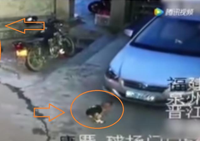 سيدة ترفض إنقاذ طفل من حادث سيارة