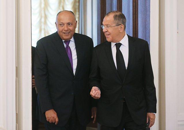 وزير خارجية روسيا و وزير خارجية مصر