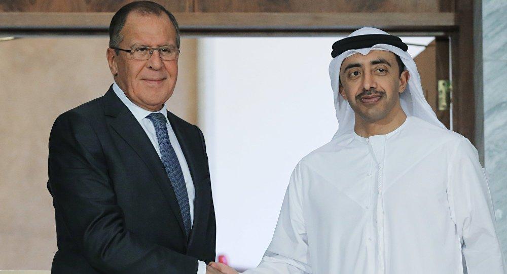 وزير الخارجية الروسي سيرغي لافروف و وزير الخارجية الإماراتي الشيخ عبدالله بن زايد آل نهيان