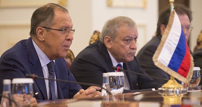مباحثات وزير الخارجية الروسية سيرغي لافروف في الدوحة، قطر