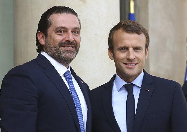 الرئيس الفرنسي إيمانويل ماكرون يرحب برئيس الوزراء اللبناني سعد الحريري في باريس، فرنسا 1 سبتمبر/ أيلول 2017