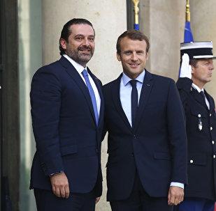الرئيس الفرنسي إيمانويل ماكرون  ورئيس الوزراء اللبناني سعد الحريري في باريس، فرنسا 1 سبتمبر/ أيلول 2017