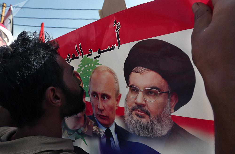 الامين العام لحزب الله حسن نصرالله والرئيس الروسي فلاديمير بوتين