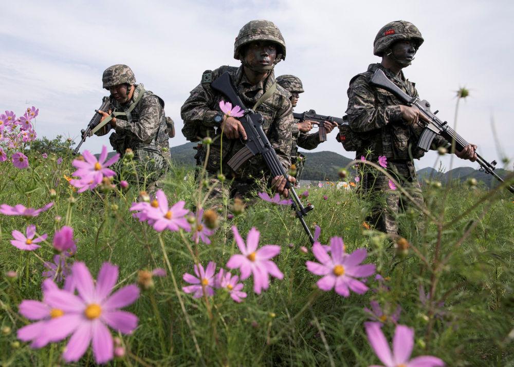 مناورات عسكرية للجنود الكوريين الجنوبيين على جزيرة باينغنيونغ بالقرب من الحدود مع جراتها كوريا الشمالية، 7 سبتمبر/ أيلول 2017