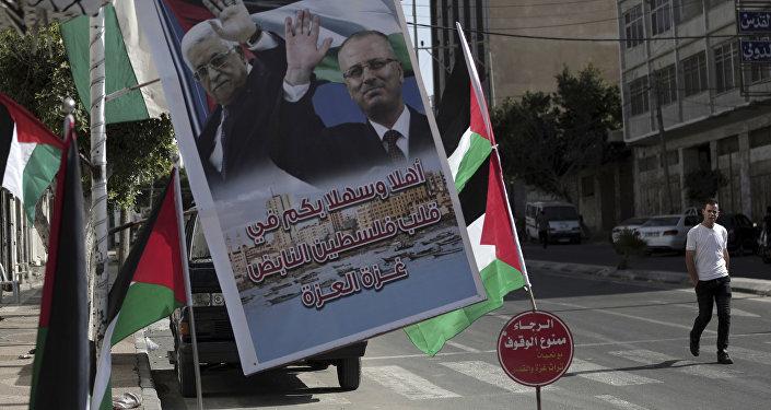 الاستعداد باستقبال الوفد الحكومي من حركة فتح في مدينة غزة، قطاع غزة، فلسطين 1 أكتوبر/ تشرين الأول 2017