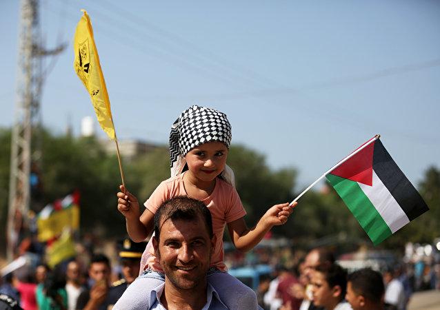 استقبال وفد من المسؤولين من حركة فتح في مدينة غزة، قطاع غزة، فلسطين 2 أكتوبر/ تشرين الأول 2017