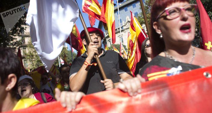 مظاهرات مناهضة لوحدة أراضي إسبانيا في برشلونة، 8 أكتوبر/ تشرين الأول 2017