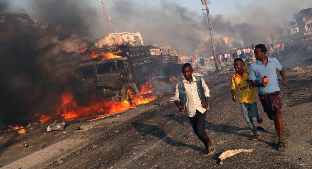 موقع الانفجار في مقديشو، الصومال 14 أكتوبر/ تشرين الأول 2017