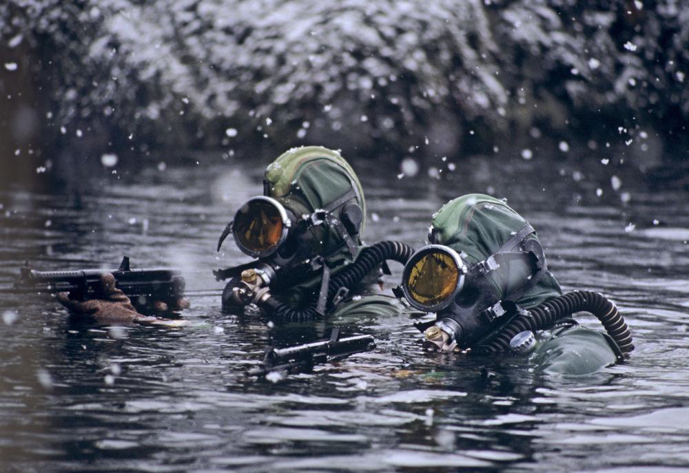 جنود من الفوج التابع لقوات الغواصين والاستطلاعيين أثناء أداء مهمة قتالية خاصة في بحر بارنتس، الأسطول الشمالي الروسي