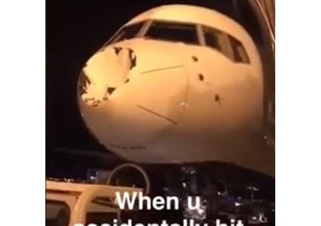 تحطم مقدمة طائرة