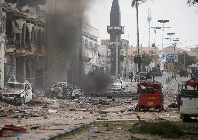 مكان الهجةم الإرهابي على فندق في مقديشو