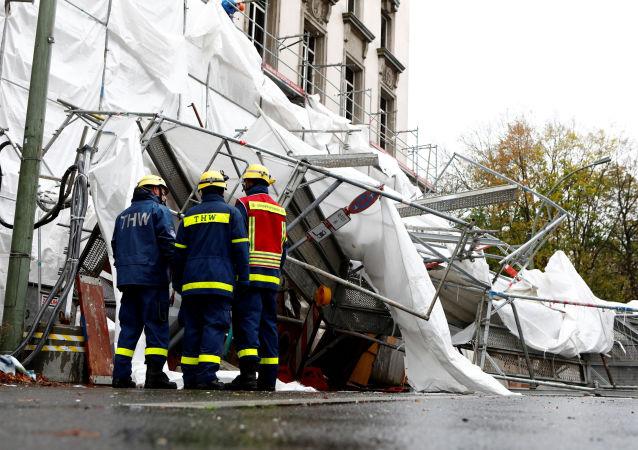 العاصفة هيراوت تشل حركة أوروبا - برلين، ألمانيا 29 أكتوبر/ تشرين الأول 2017