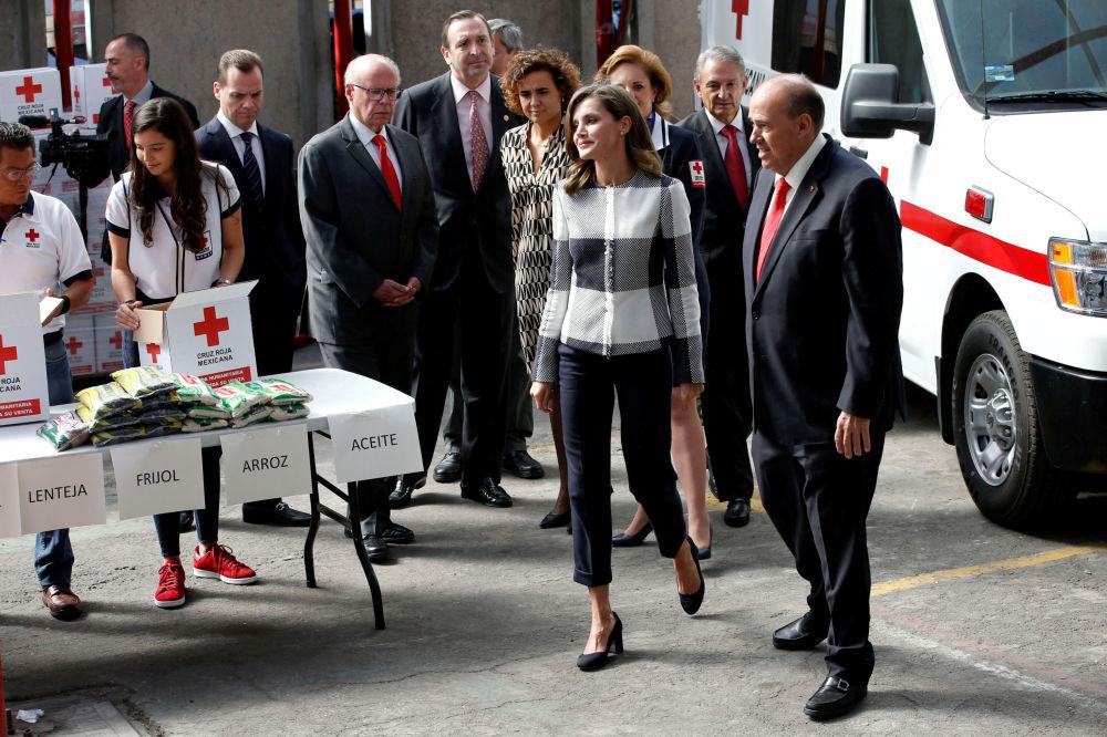 ملكة إسبانيا ليتيسا أثناء زيارتها لمؤسسة الصليب الأحمر في مدينة مكسيكو، المكسيك 13 نوفمبر/ تشرين الثاني 2017