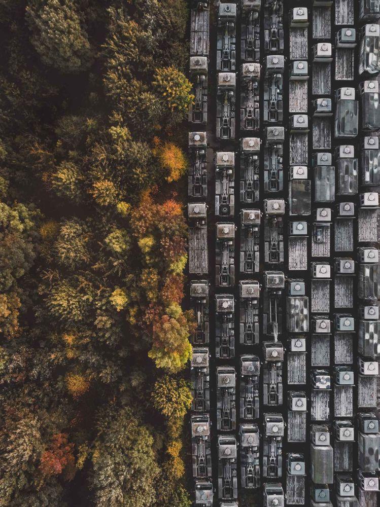 صورة الإنسان والغابة الشاحنات المهجورة على الحدود مع الغابة في نوتنغهام، المملكة المتحدة