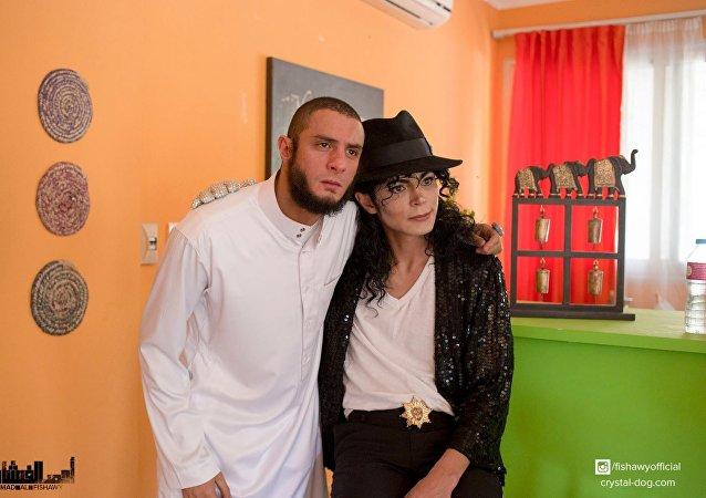 أحمد الفيشاوي في كواليس فيلم شبخ جاكسون