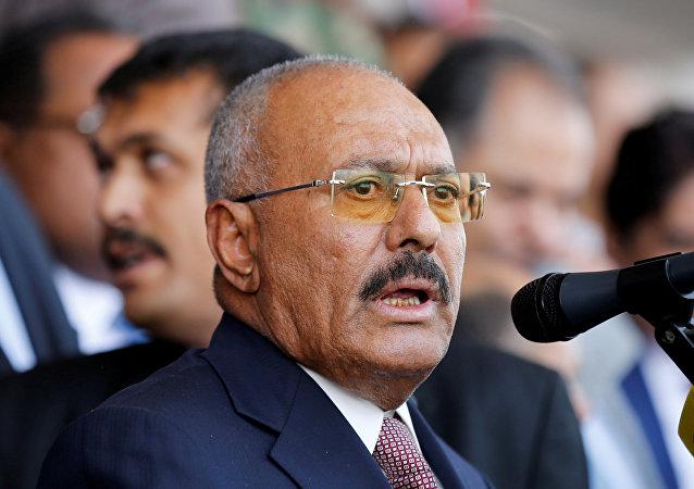 الرئيس السابق علي عبدالله صالح خلال خطابه بمناسبة إحياء الذكرى الـ 35  لتأسيس حزب المؤتمر الشعبي العام في صنمعاء، اليمن 24 أغسطس/ آب 2017