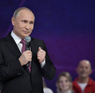 الرئيس الروسي فلاديمير بوتين خلال حفل توزيع جوائز المتطوع الروسي لعام 2017 في موسكو، 6 ديسمبر/ كانون الأول 2017