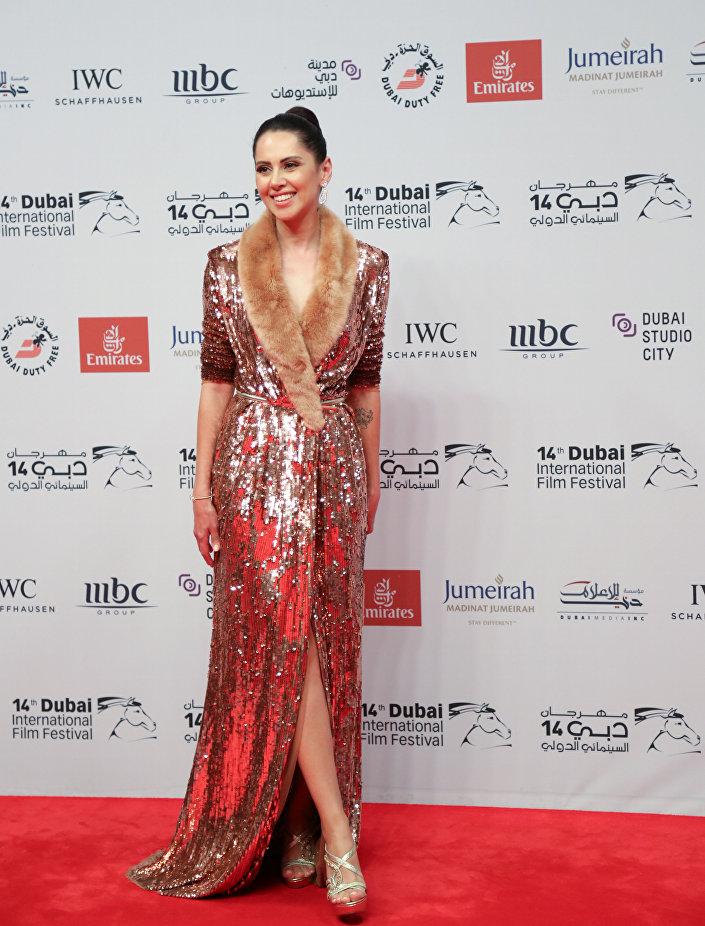 الممثلة المصرية ياسمين رئيس في افتتاح مهرجان دبي السينمائي الدولي الـ 14 في6 ديسمبر /كانون الأول 2017