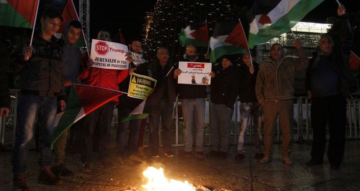 احتجاجات على قرار دونالد ترامب بشأن القدس في بيت لحم، فلسطين 6 ديسمبر/ كانون الأول 2017