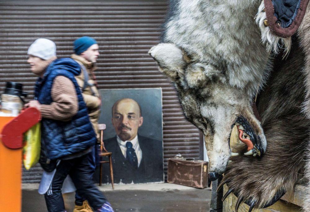 جلد الذئب للبيع، على لوحة الثوري الشيوعي الروسي فلاديمير إيليتش أوليانوف، المعروف أيضا باسم لينين، في سوق إزمايلوفو في موسكو، روسيا 3 ديسمبر/ كانون الأول 2017
