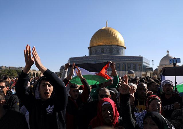 احتجاجات بالقرب من المسجد الأقصى في مدينة القدس