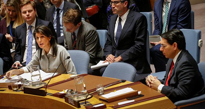 نيكي هيلي في جلسة مجلس الأمن الطارئة حول القدس