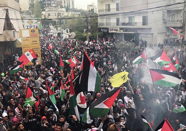 تظاهرة في بيروت قرب السفارة الأمريكية