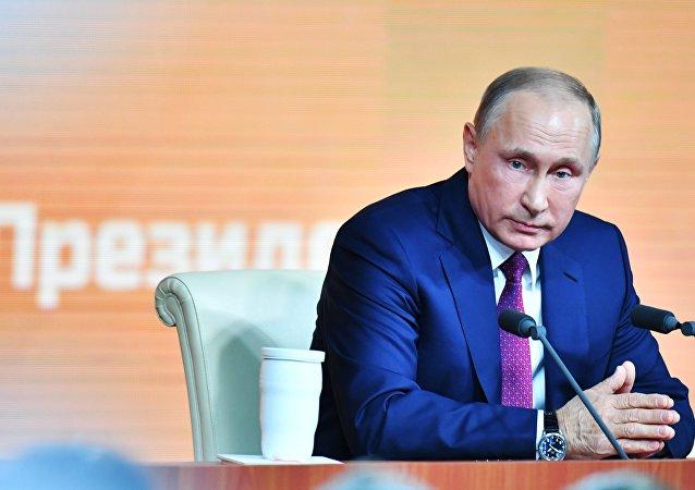 المؤتمرالصحفي الكبير السنوي للرئيس الروسي فلاديمير بوتين في الكرملين، موسكو 14 ديسمبر/ كانون الأول 2017