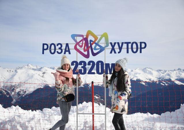 المنتجع الشتوي روزا خوتر في سوتشي، روسيا
