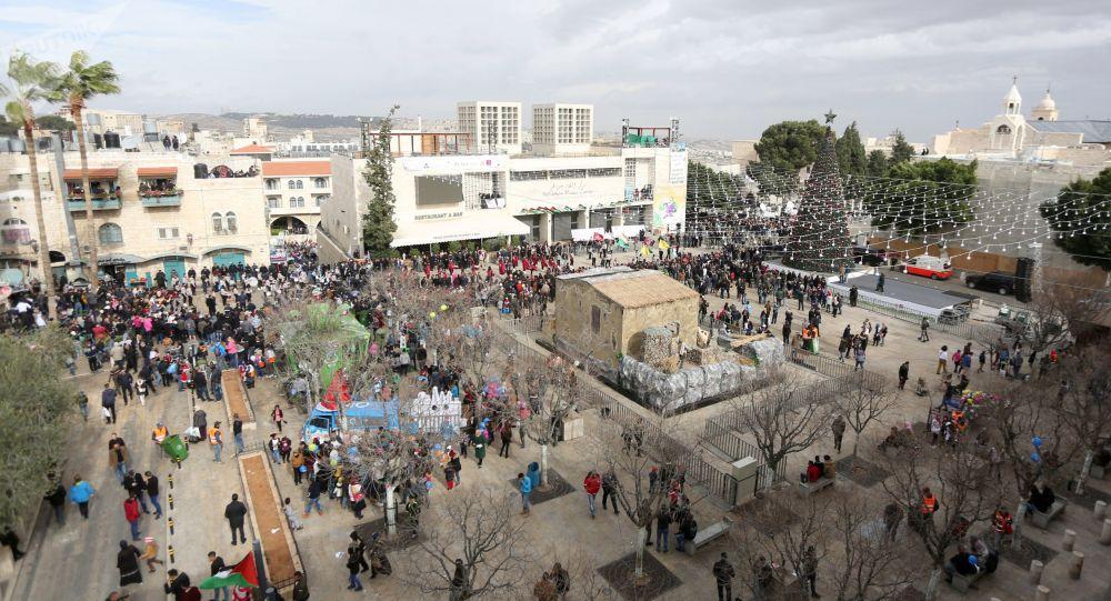 الاحتفالات بعيد الميلاد المجيد في بيت لحم، فلسطين 24 ديسمبر/ كانون الأول 2017