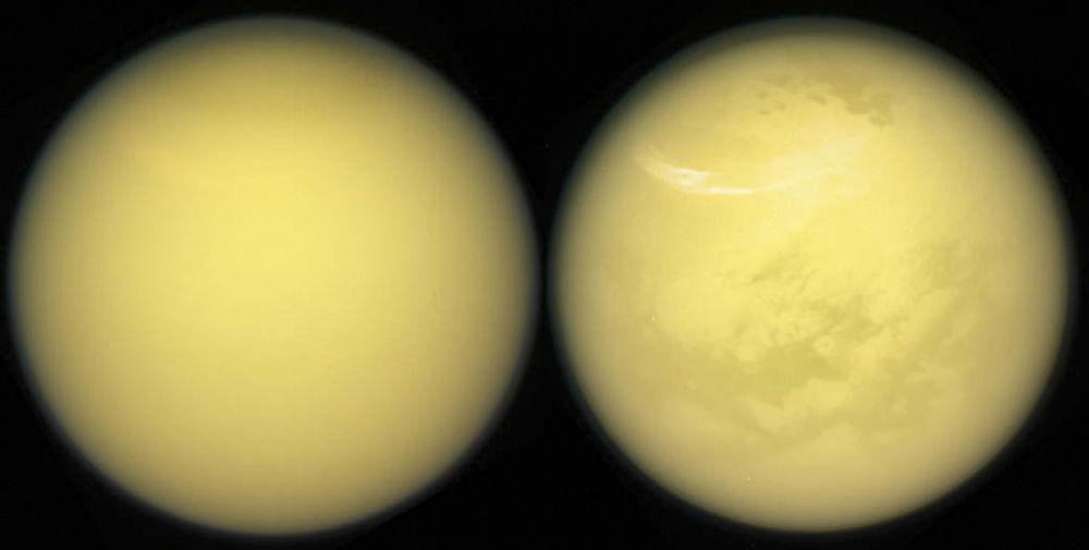 صورة للقمر العملاق تيتان لكوكب زحل، التقطها جهاز وكالة ناسا كاسيني