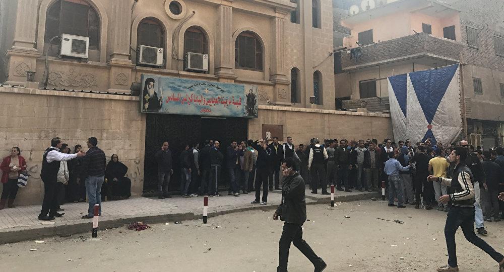 من أمام كنيسة مارمينا العجايبي في منطقة حلوان في مصر