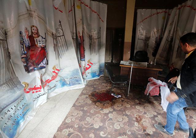 من داخل كنيسة مارمينا العجايبي في حلوان في مصر