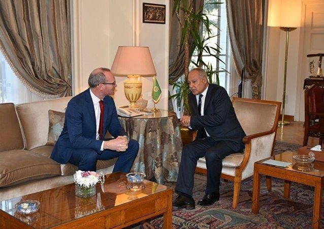 أمين عام جامعة الدول العربية أحمد أبو الغيط ووزير الخارجية الأيرلندي