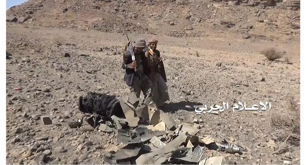 حطام الطائرة السعودية التي سقطت في اليمن