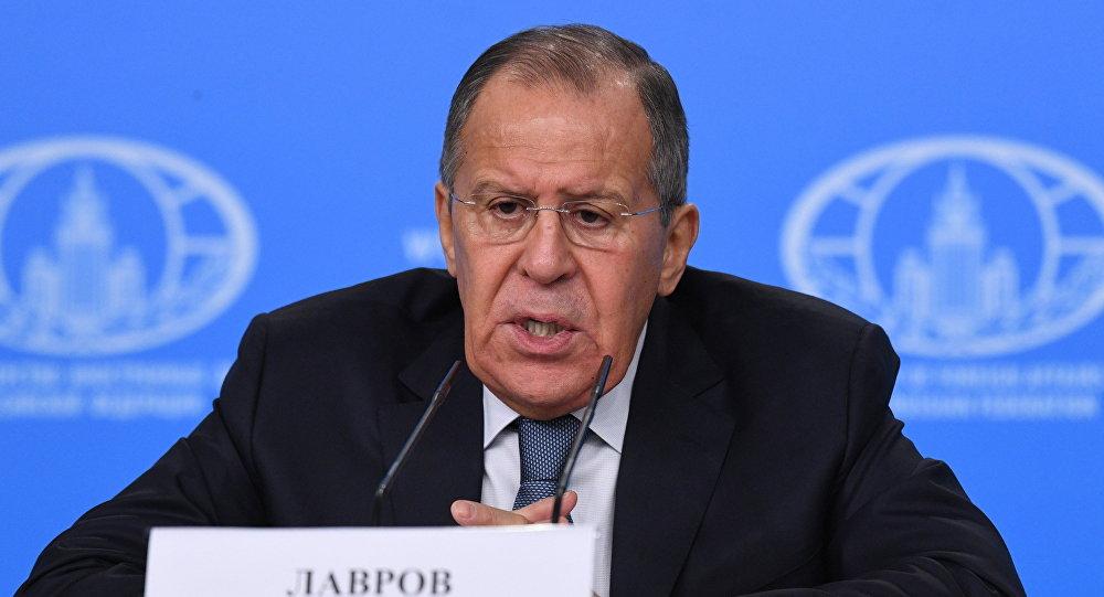 مؤتمر صحفي لوزير الخارجية الروسي سيرغي لافروف في 15 ينيار/كانون الثاني 2018