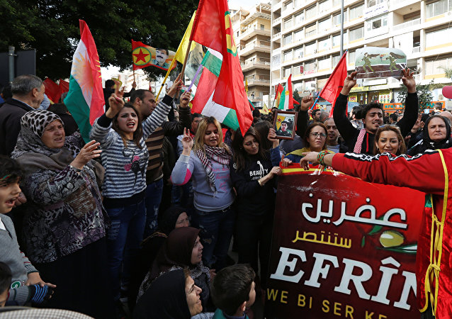 احتجاجات كردية ببيروت على عملية عفرين 22 يناير/ كانون الثاني 2018