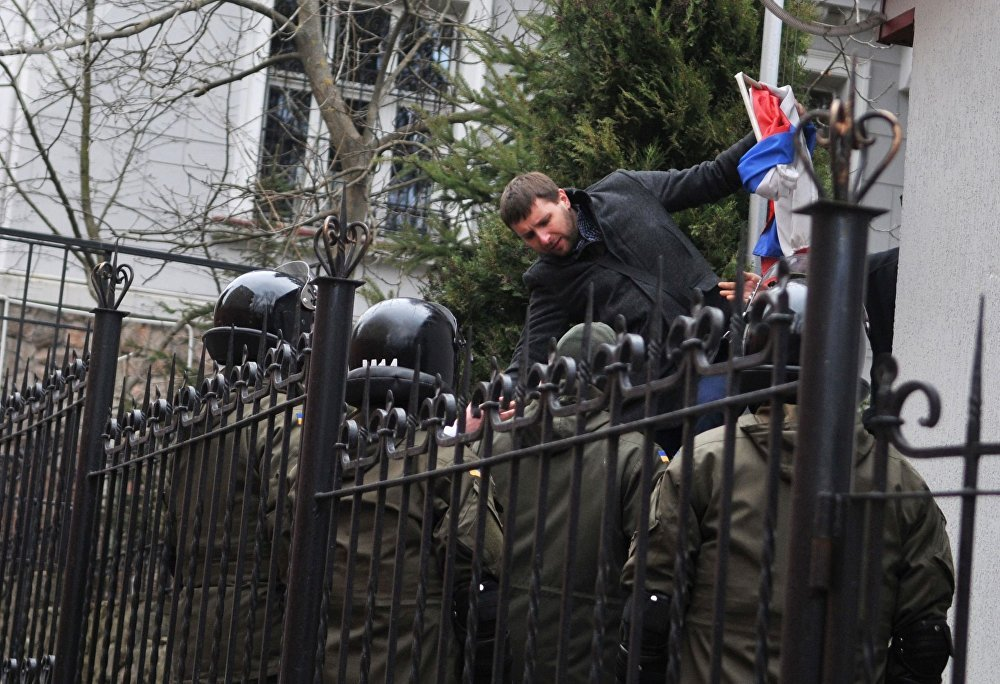فلاديمير باراسيوك، واحد من قادة المتظاهرين في وسط كييف الذين قاموا بالانقلاب في وقت لاحق