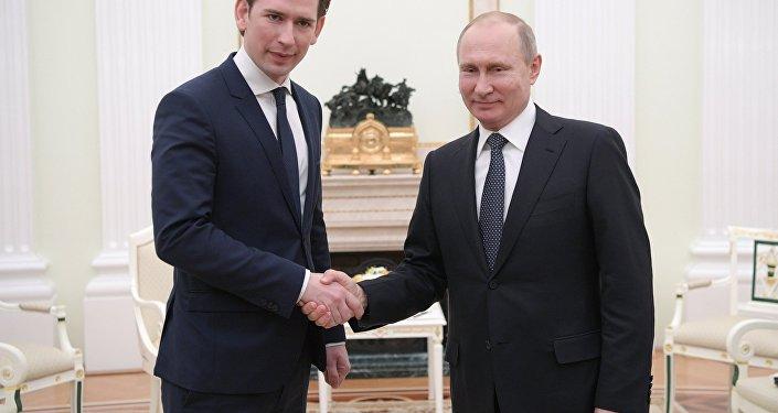 بوتين يبحث مع المستشار النمساوي الشؤون الدولية، 28 فبراير 2018
