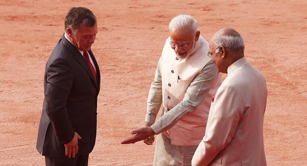 رئيس الهند، ورئيس الوزراء الهندي يستقبلون ملك الأردن