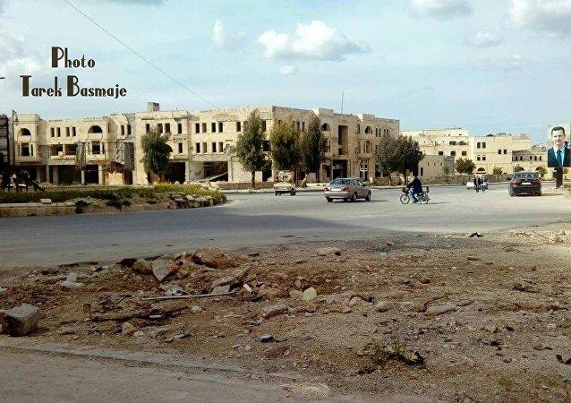 صورة حديثة لمنطقة حلب القديمة تظهر فيها مستديرة السبع بحرات