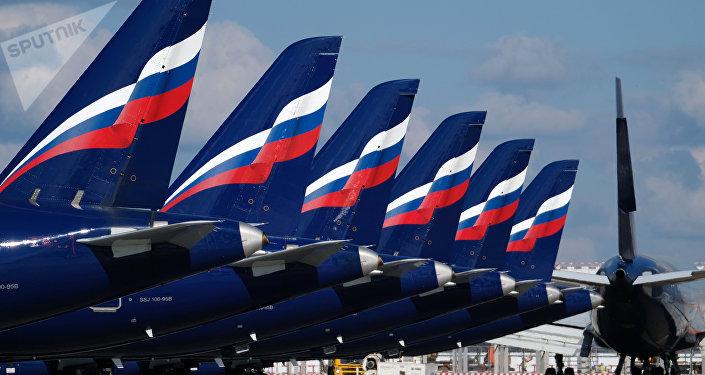 طائرات شركة أيروفلوت الروسية في مطار شيريميتيفو في موسكو