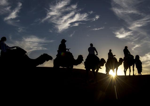 المشاركون في سباق الفروسية Gallops of Morocco في صحراء مرزوقة في جنوب الصحراء المغربية في 2 مارس/ آذار 2018