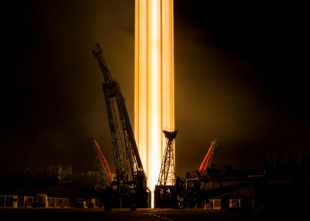 إطلاق الصاروخ سويوز-إف غا وعلى متنه السفينة الفضائية سويوز إم إس-08 من مطار بايكانور