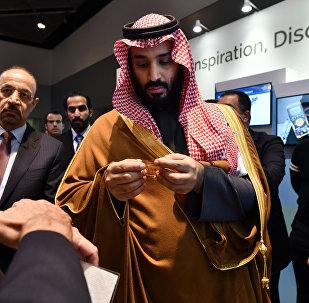 ولي العهد السعودي محمد بن سلمان يزور معرض ابتكارات التكنولوجيا السعودية، بما في ذلك معرض من جامعة الملك عبد الله للعلوم والتكنولوجيا، خلال زيارة لمعهد ماساتشوستس للتكنولوجيا يوم السبت ، 24 مارس ، 2018 في كامبريدج