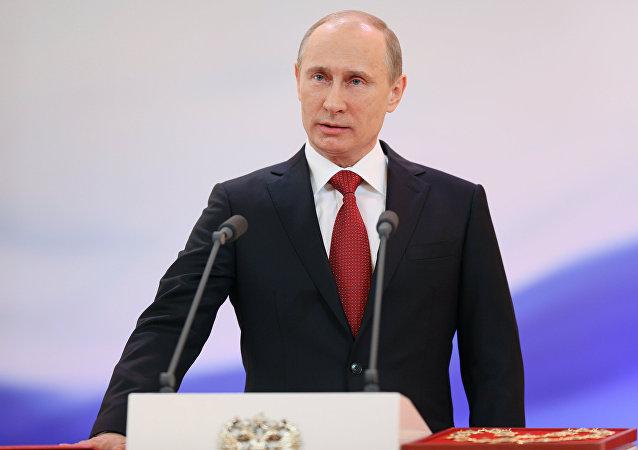 الرئيس الروسي فلاديمير بوتين خلال مراسم التنصيب في عام 2012