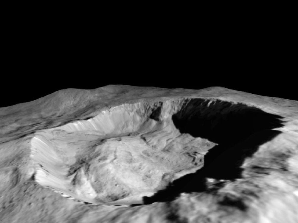 صورة التقطتها دون ميشون (بعثة الفجر) التابعة لـ ناسا، لموقع اكتشف فيه الجليد في الجدار الشمالي لكرات جولينج كراتر على كوكب سيريس (الكوكب القزم القريب من الشمس بين مداري المريخ والمشتري)، التي تعيش في ظل دائم تقريبا