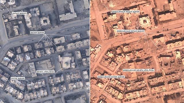 الدفاع الروسية تنشر صورا لحجم الدمار الذي خلفه قصف التحالف الدولي على الرقة السورية