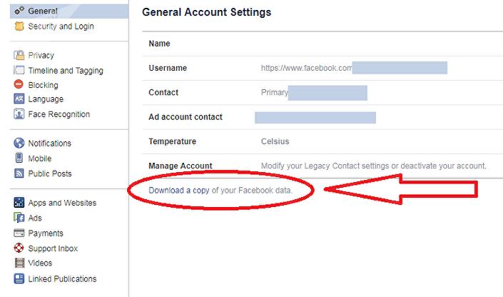 خطوات تحميل معلومات فيسبوك